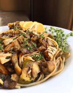 Vegan Chicken, Lemon & Thyme Pasta with Grilled Zucchini & Maitake Mushrooms