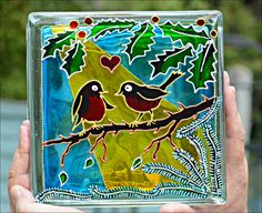 Painted Glass Block / HAND PAINTED, RECYCLED / Christmas Robins / Night Light / Sun Catcher / Glass Painting / Garden Art Decoration / Birds