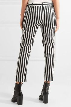 Ann Demeulemeester - Cropped Striped Satin-twill Slim-leg Pants - White - FR44
