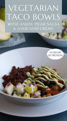 This vegetarian taco bowl recipe is made with seasoned black beans & garbanzo beans for a high protein healthy vegetarian dinner recipe. The avocado creme is easy to make using greek yogurt (soy for vegan) with lime juice & avocado. Top it off with our easy salsa recipe of cucumber, red onion, & pears. The best vegetarian taco salad bowl you'll want for lunch too! Enjoy this protein packed meatless vegetarian recipe when you need a quick dinner idea. Visit USAPears.org for more healthy recipes! Pear Recipes Dinner, Pear Recipes Breakfast, Vegetarian Recipes Dinner, Vegan Recipes, Vegetarian Taco Salad, Pear Varieties, Taco Salad Bowls, Salsa Recipe, Avocado Recipes