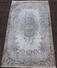 Traditional Handmade Anatolian Wool Carpet Overdyed Rug