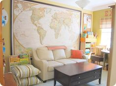 Fantastic decorating ideas for getting maps and cork boards on walls etc. A dream school/game room