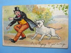 Comic Postcard 1911 BULLDOG - I AM TRYING TO GET AWAY Theme