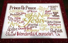 Free Cross Stitch Design His Name is Jesus Cross Stitch Charts, Cross Stitch Designs, Wonderful Counselor, Jesus On The Cross, Names Of Jesus, Joyful, Free Design, Prince, Words