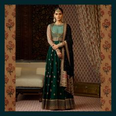The Heritage Collection for Winter Mehendi and Sangeet. Heritage silk matka kurta in forest green and an odhana with a hand-painted and… Anarkali Dress, Pakistani Dresses, Indian Dresses, Indian Outfits, Lehenga Choli, Green Lehenga, Indian Anarkali, Bridal Lehenga, India Fashion