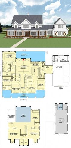 Most Popular Farmhouse Plans - Blueprints, layouts and details of the best farmhouses on the market. Building your dream home in the country? Home 7 Most Popular Farmhouse Plans With Pictures New House Plans, Dream House Plans, Dream Houses, House Design Plans, Square House Plans, 5 Bedroom House Plans, Barn House Plans, Nice Houses, Farm Houses