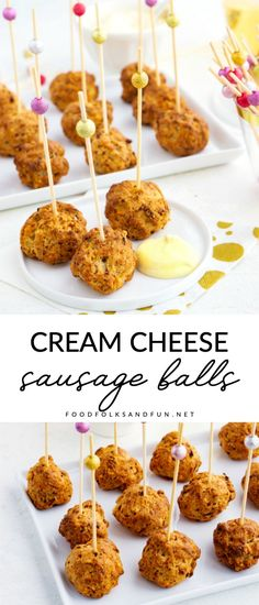 This Sausage Cream Cheese Balls recipe is a double-duty recipe! Its an easy appetizer to serve at parties and you can serve them for brunch the next morning too! Easy Appetizer Recipes, Yummy Appetizers, Appetizers For Party, Delicious Desserts, Thanksgiving Appetizers, Thanksgiving Recipes, Appetizer Ideas, Christmas Recipes, Snack Recipes