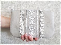 Lace zip clutch white lace clutch lace por KawaiiSakuraHandmade