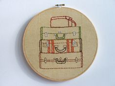 Hand Embroidery Hoop - Suitcase Stack. $60.00, via Etsy.