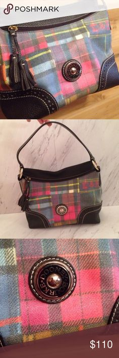 Plaid Multi Color Dooney & Bourke Handbag Used only twice, this bag is perfect size for the essentials and go! Excellent condition. There are no flaws. Dooney & Bourke Bags