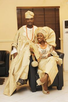 Weddings: Traditional Yoruba Couple. Nigerian bride and gold in gold