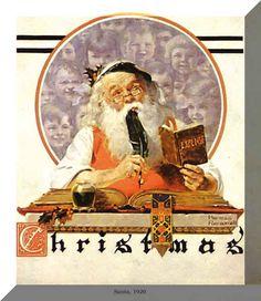 Santa Checking His List     Norman Rockwell 1920