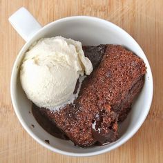 This decadent chocolate cake is a cross between molten chocolate cake and a brownie.