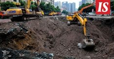 A group of pedestrians swallowed up by a massive sinkhole in the Chinese city of Dazhou have all reportedly died, two days after survivors were pulled from the gaping cavity. Pedestrian, Pavement, Outdoor Power Equipment, Street View, City, Swallows, Newlyweds, Father And Son, Sidewalk