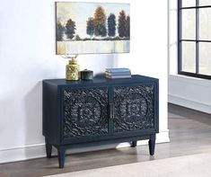 The Riley accent cabinet from Real Living is great for your media, storage and display needs. Finished in a hand painted fresco blue, each door features ornate medallion carvings that provide a decorative way to accent your home. The interior reveals adjustable shelves, ventilation and wire management to accomodate your media components in a living or entertaining space. Flat Panel Tv, Tv Panel, Shelving Design, Gamer Room, Room Setup, Furniture Sale, Accent Furniture, Adjustable Shelving, Console Table