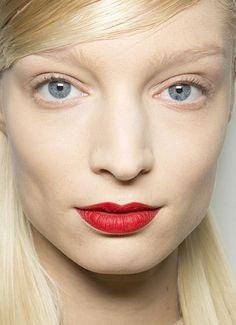 matte red lips, no mascara