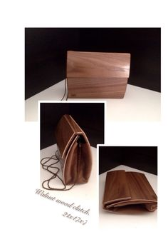 Walnut wood clutch. Handmade.
