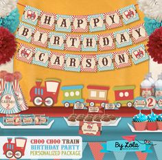 Vintage Choo Choo Train Birthday Party kit - Chugga Chugga birthday printable supplies - Editable Personalized Standard Package - PK-13 by ByLolaPrintables