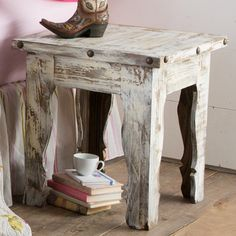 Rustic White Side Table