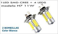 Hoy destacamos nuestras bombillas de Led CREE SMD 11W H7 Antiniebla con Proyector! Aumenta la intensidad de tus luces de cortesía, freno, intermitentes, etc, con la mejor iluminación! bombillas LED para interior y exterior de tu vehículo con una gran intensidad y una duración que sobrepasa las 50,000 horas de vida. Dale un toque diferente a tu coche al mejor precio haciendo click aquí