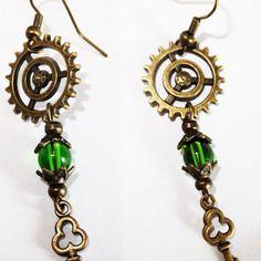 Kit boucle d'oreilles engrenages steampunk  victoriennes vertes
