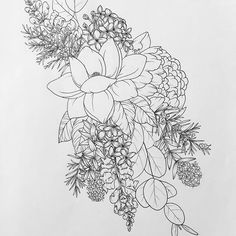 Great flower and herb shoulder piece! #rosemary #magnolia #peony #thyme #eucalyptus #lilac #flowers #art #drawing #tattoo #sketch #flash #bloom