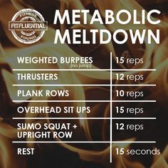 Rev your metabolism and burn fat with this metabolic meltdown workout. These high intensity intervals will get you shredded!