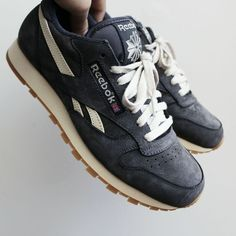 Reebok Classic Leather Vintage Retro Suede (J93612) Tags: sneakers, low-top, running shoes, navy, blue, gray, slate, tan, off-white, gum soles