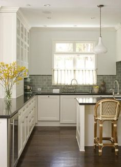 Studio William Hefner - kitchens - green subway tiles, green subway tile backsplash, green subway backsplash, green subway tile kitchen, gre...