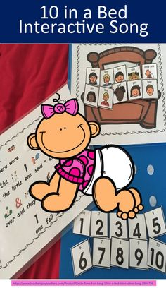 10 in a bed Fun circle time song that is interactive and can be secured to a folder to create a simple and easy song activity that is easy to store.    This is a favorite children's rhyme  I use this rhyme for a variety of students from students Preschool, kindergarten, and first graders as part of a poem choice Fluency cases to practice smooth speech Students who need visual supports including students on the autism spectrum, students with attention deficit, students with cognitive…