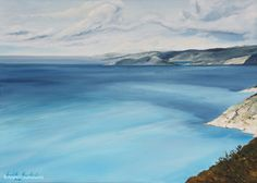 ANGELS ABOVE THE IONIAN SEA I, oil on canvas, 55x70cm, 2002 Oil On Canvas, Angels, Peace, Mountains, Water, Travel, Outdoor, Gripe Water, Outdoors