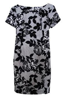 M&S COLLECTION Monochrome Rose Print Dress T42/1288.  UK12 EUR40  MRRP: £49.50GBP - AVI Price: £22.00GBP