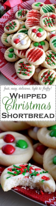 Whipped Christmas Shortbread - Christmastime is rushed and hurried; who has time for rolling pins and chilling dough? With this Whipped Christmas Shortbread recipe, you can have shortbread cookies ready to eat in less than 30 minutes! Cookie Desserts, Holiday Desserts, Holiday Baking, Christmas Baking, Fun Desserts, Holiday Recipes, Cookie Recipes, Delicious Desserts, Dessert Recipes
