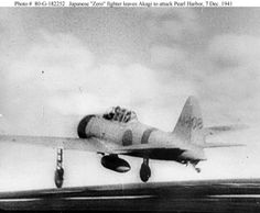 """Japanese Navy Mitsubishi A6M2 """"Zero"""" fighter launches from the aircraft carrier Akagi (this should be an image from the second wave)."""