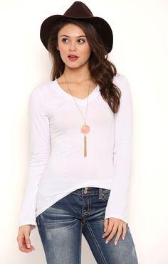 Deb Shops Long Sleeve V Neck Tee Shirt with High Low Hemline $6.00