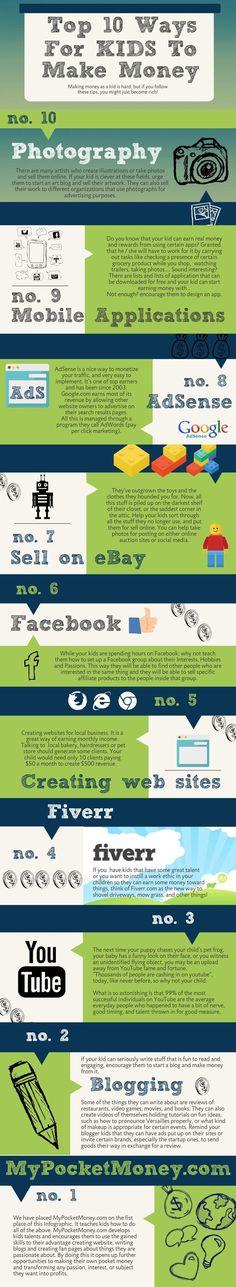 Top 10 Ways For Kids To Make Money #mypocketmoney http://www.mypocketmoney.com Money Making Ideas #Money