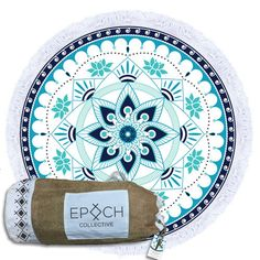 The Perfect Beach Towel - The stunning turquoise AQUATIC LOTUS Luxury Round Beach Towel from Epoch Collective is the MUST HAVE beach accessory. Shop it Now.