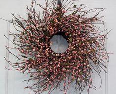 Salmon Pink Mix Berry Wreath - Spring Wreath