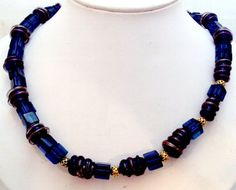 Cobalt Blue Glass Bead Necklace  OOAK #Handmade #onestrandnecklace
