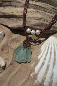 Sea glass jewelry Sea Glass and Freshwater by byNaturesDesign by christina carrera