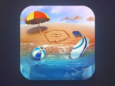 This icon has a lot going on. I usually don't see icons with this much detail. The details might get lost if the icon is sized down, but I do like the design of it. Reflection of the ball and surfboard in the water are well done. The background  repeats umbrellas and it shows distance because of the placement and opacity of the umbrellas. I'm not sure what the drawing is in the sand. It's distracting. Movement in this piece includes the water and the clouds.