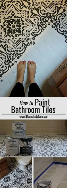 DIY: How to EASILY paint your tile floor for a budget friendly modern update! – … DIY: How to EASILY paint your tile floor for a budget friendly modern update! – Black and White Stenciled Bathroom Floor Painting Bathroom Tiles, Painting Tile Floors, Bathroom Floor Tiles, Painted Floors, Bathroom Black, Tiled Floors, Glass Bathroom, Painted Tiles, Bathroom Bin