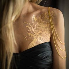Image result for Gold Permanent Ink Tattoos