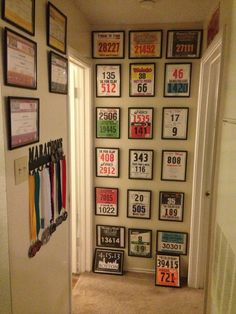 I LOVE this idea! Framed bibs and hanging medals