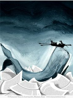 "Moby Dick © Fernando Vicente Ilustración, Madrid, Spain via his site ...  Moby-Dick; or, The Whale (1851) by Herman Melville  ... ""one of the Great American Novels"""