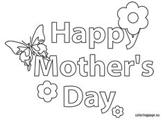 Happy Mother's Day - Butterfly and Flower coloring page - Coloring Page