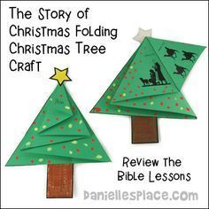 """The Story of Christmas"" Folding Christmas Tree Card Craft for Sunday School from www.daniellesplace.com"