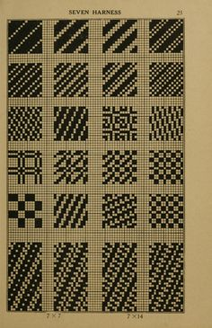The Patternbase Digital Archive — garadinervi: From: Dictionary of Weaves, Part I /. Weaving Textiles, Weaving Patterns, Knitting Patterns, Crochet Patterns, Textiles Techniques, Weaving Techniques, Minecraft Floor Designs, Knitting Charts, Hand Knitting