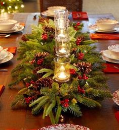 Fabulous christmas centerpieces ideas anyone can make 45 Christmas Table Centerpieces, Christmas Table Settings, Centerpiece Decorations, Xmas Decorations, Christmas Tablescapes, Centrepieces, Formal Dining Table Centerpiece, Christmas Dinning Table Decor, Table Arrangements