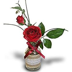 Roses in a Vase - Red Roses Bouquet in a Burlap and Lace Decorated Glass Vase - Silk Flower Arrangement - Valentine's Day Gift Red Roses